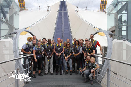 Former major trauma patient Jeanette and her support team, including staff from Major Trauma Group founding firm Moore Barlow, about to climb the O2 building